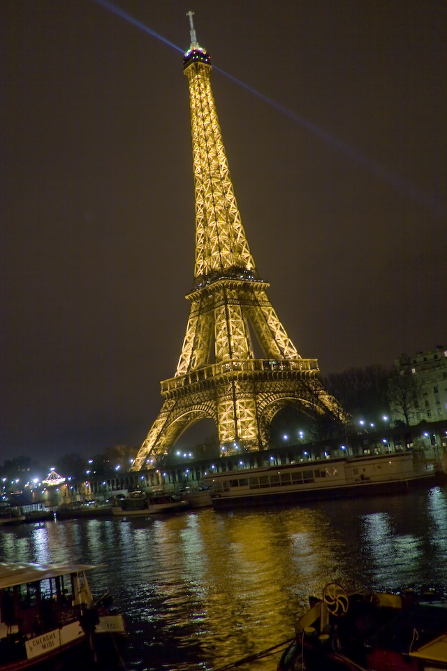 Eiffel Tower from across the Seine at night b-w, Paris-2